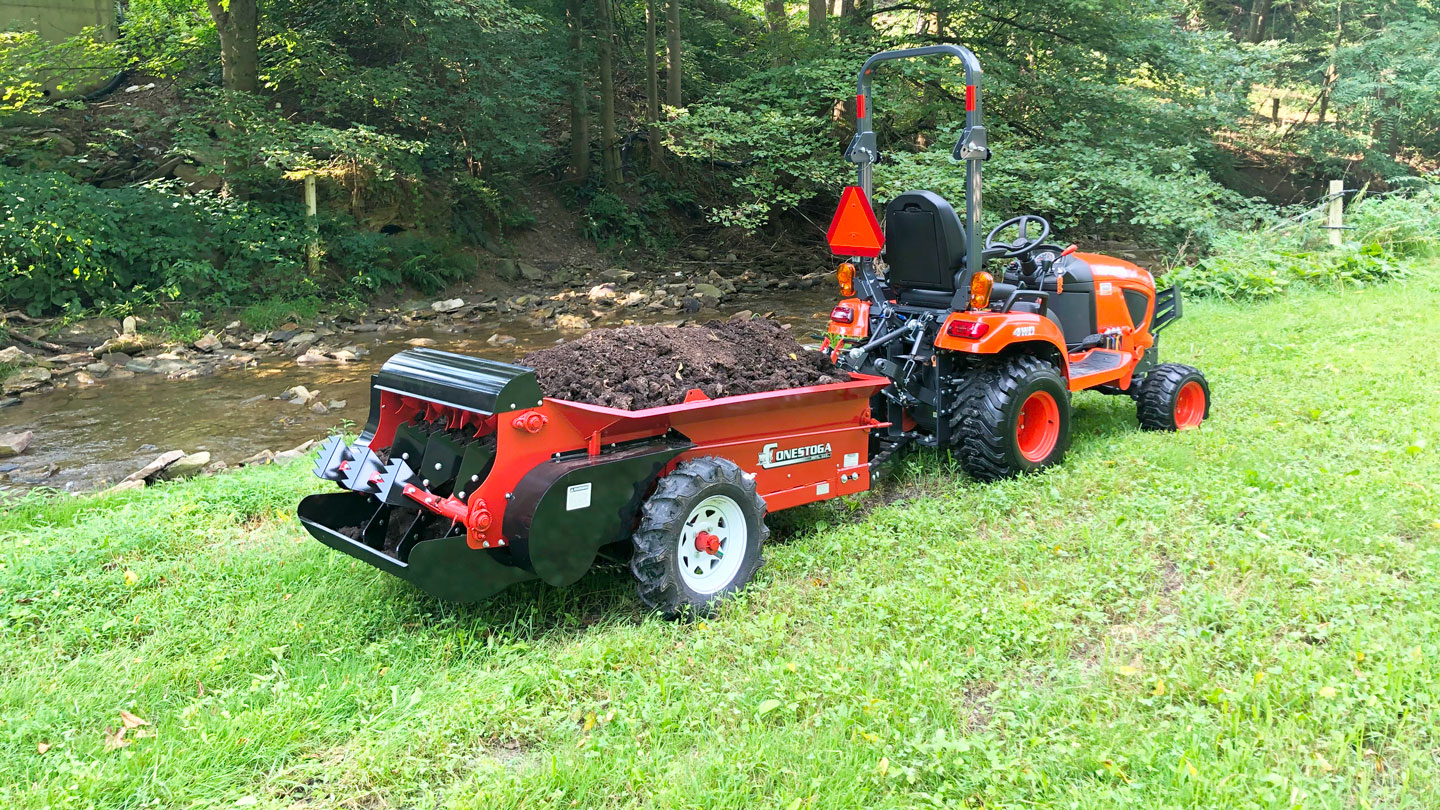 atv manure spreader with tractor full load