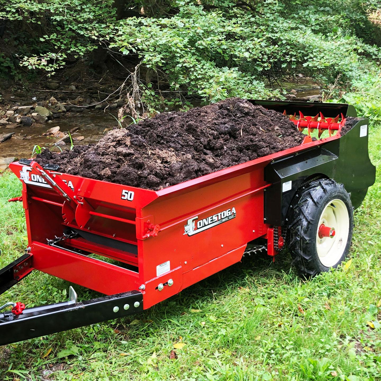 compact manure spreader fully loaded manure spreader