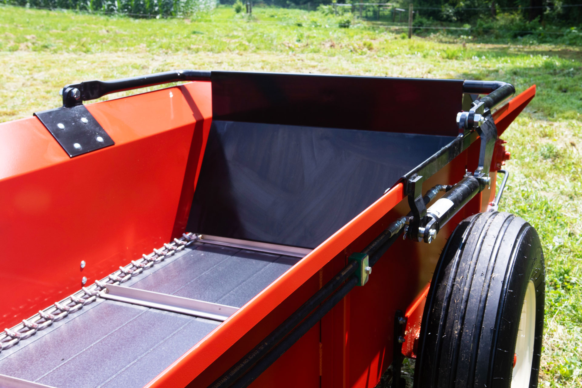 PTO tow behind manure spreader  with hydraulic end gate.